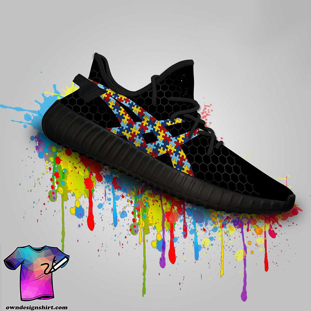 Autism awareness custom yeezy sneakers