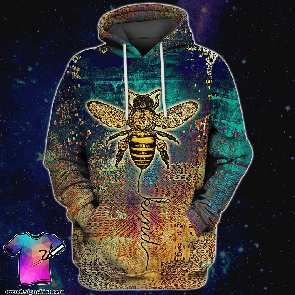 Bee kind all over print hoodie