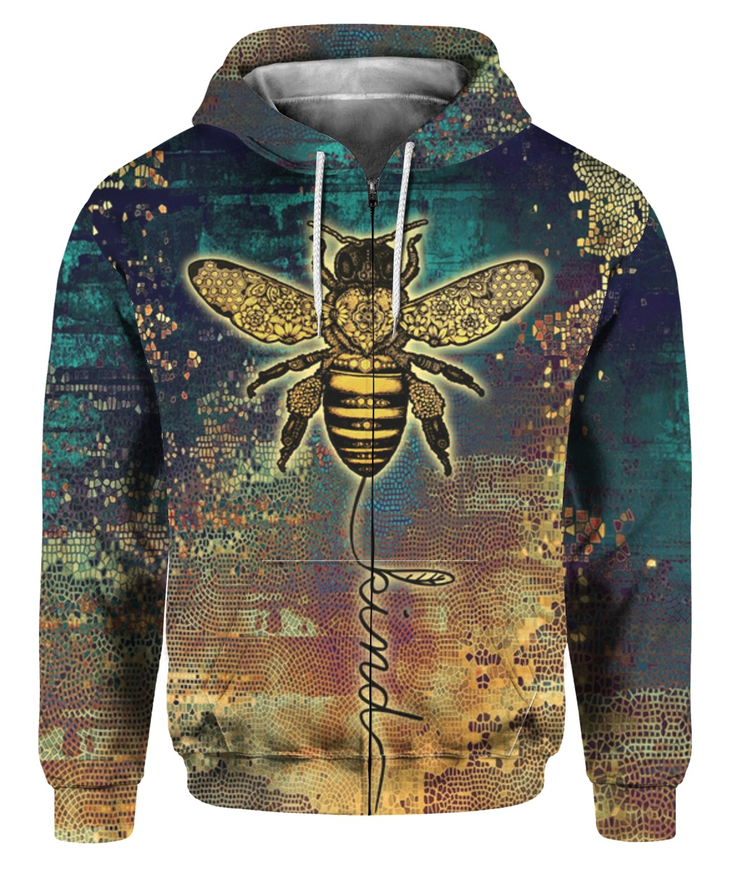 Bee kind all over print zip hoodie