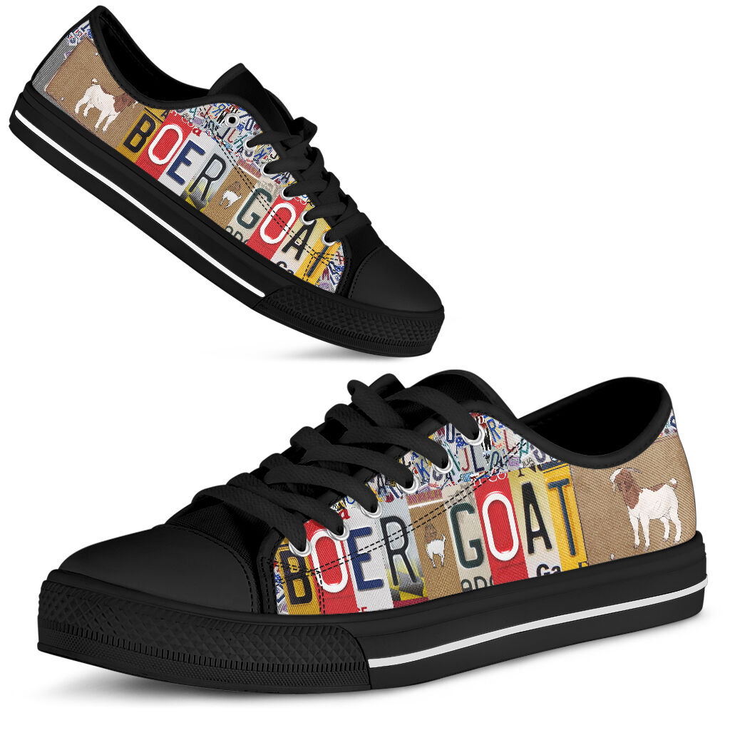 Boer goat license plates low top sneakers 1