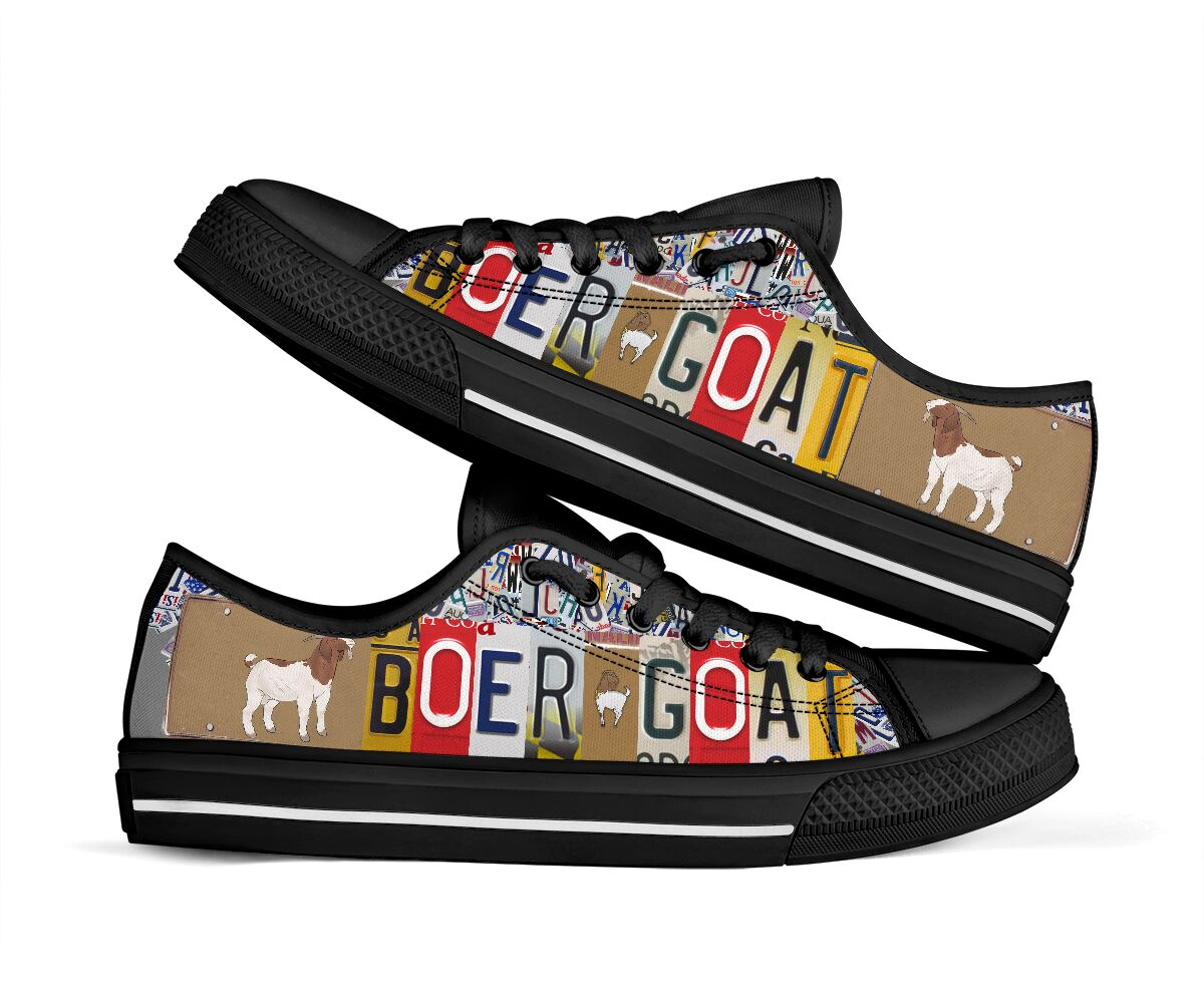 Boer goat license plates low top sneakers 2