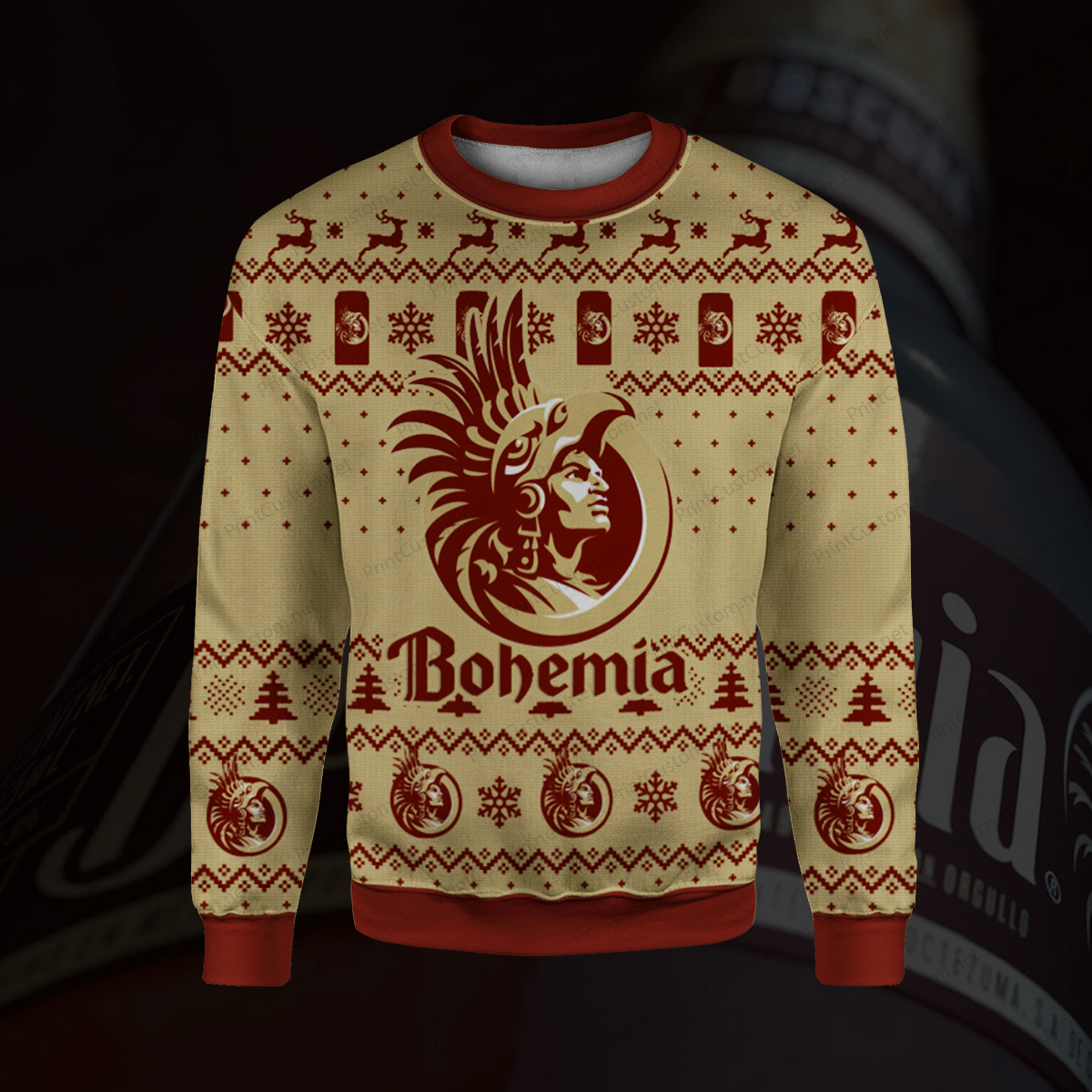 Bohemia beer full printing ugly christmas sweater 1