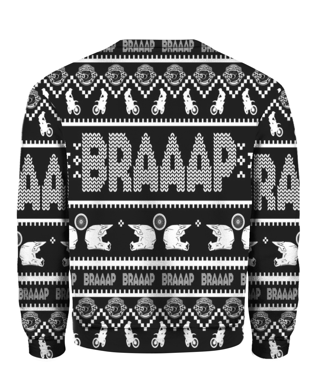 Christmas motorcycle dirt bike motocross braaap ugly christmas sweater - back