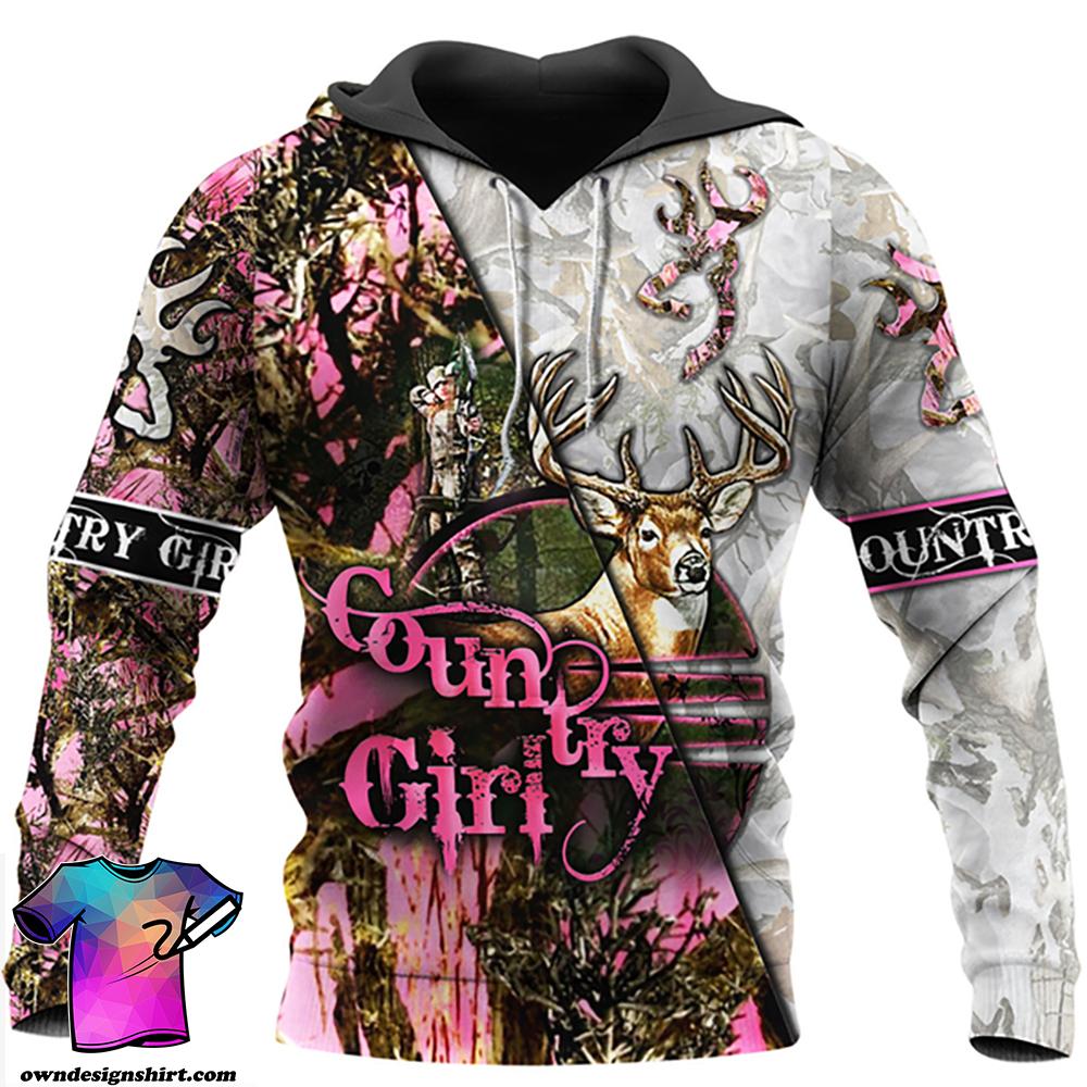 Country girl deer pink all over print hoodie