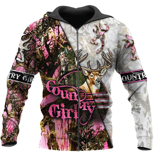 Country girl deer pink all over print zip hoodie