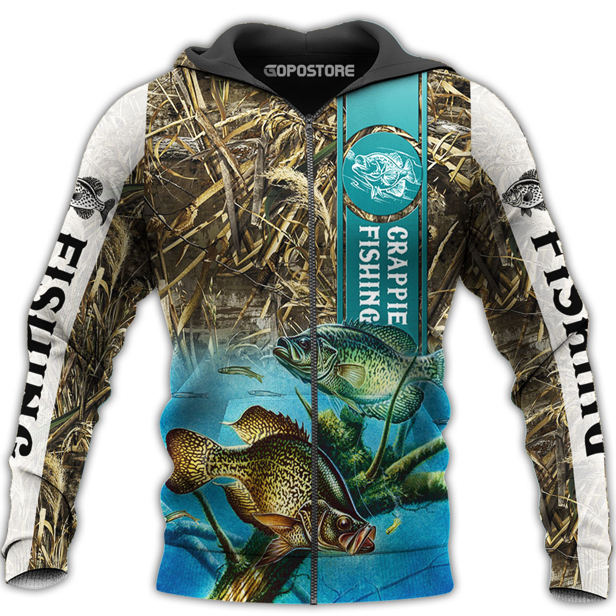 Crappie fishing all over printed zip hoodie