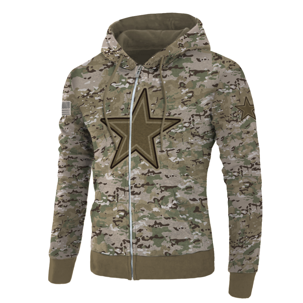 Dallas cowboys camo style all over print zip hoodie