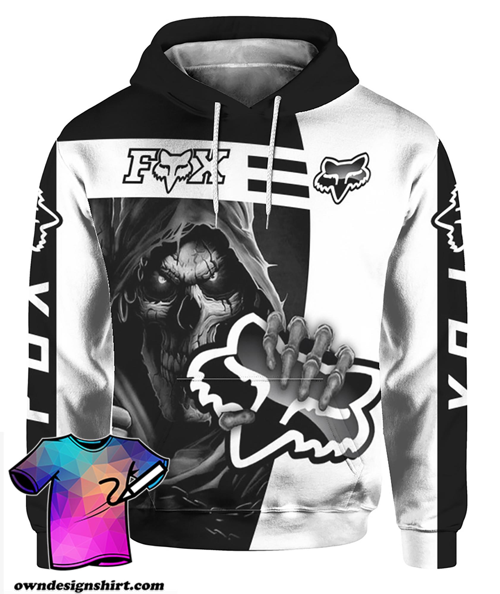 Death skull holds logo fox racing full printing hoodie
