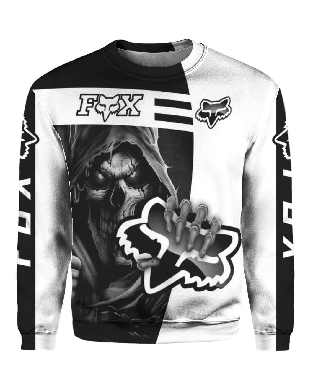 Death skull holds logo fox racing full printing sweatshirt