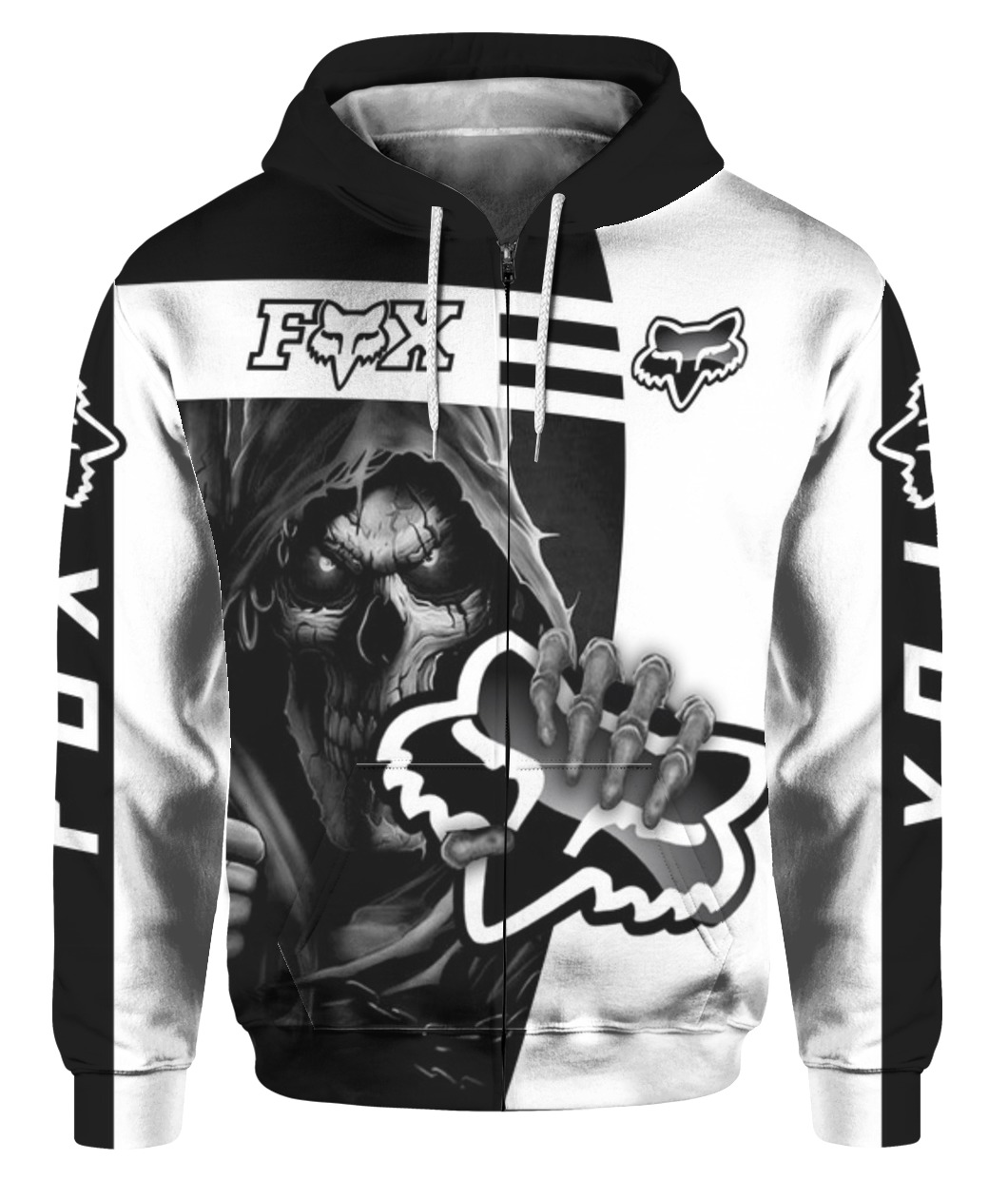 Death skull holds logo fox racing full printing zip hoodie