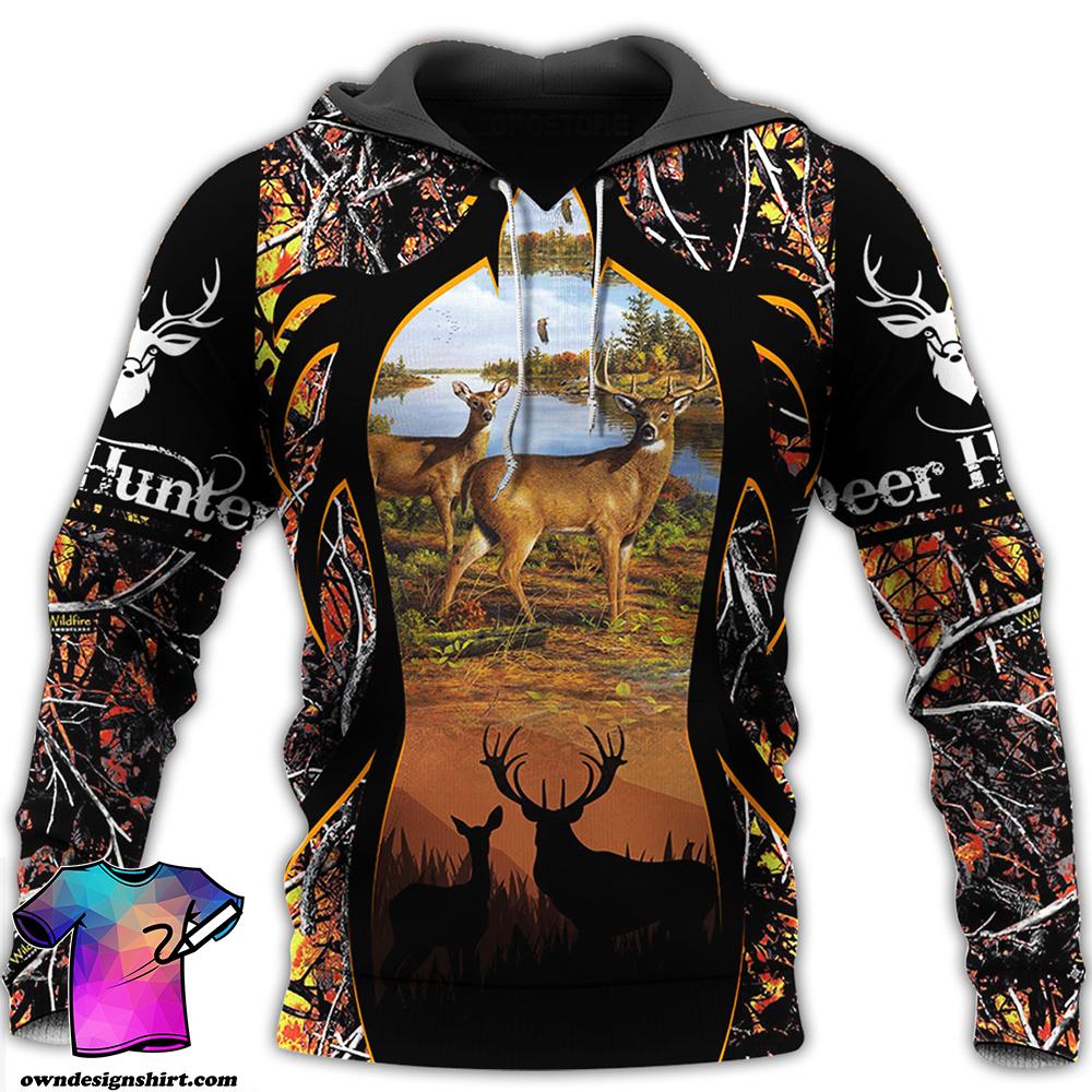 Deer hunter all over printed hoodie