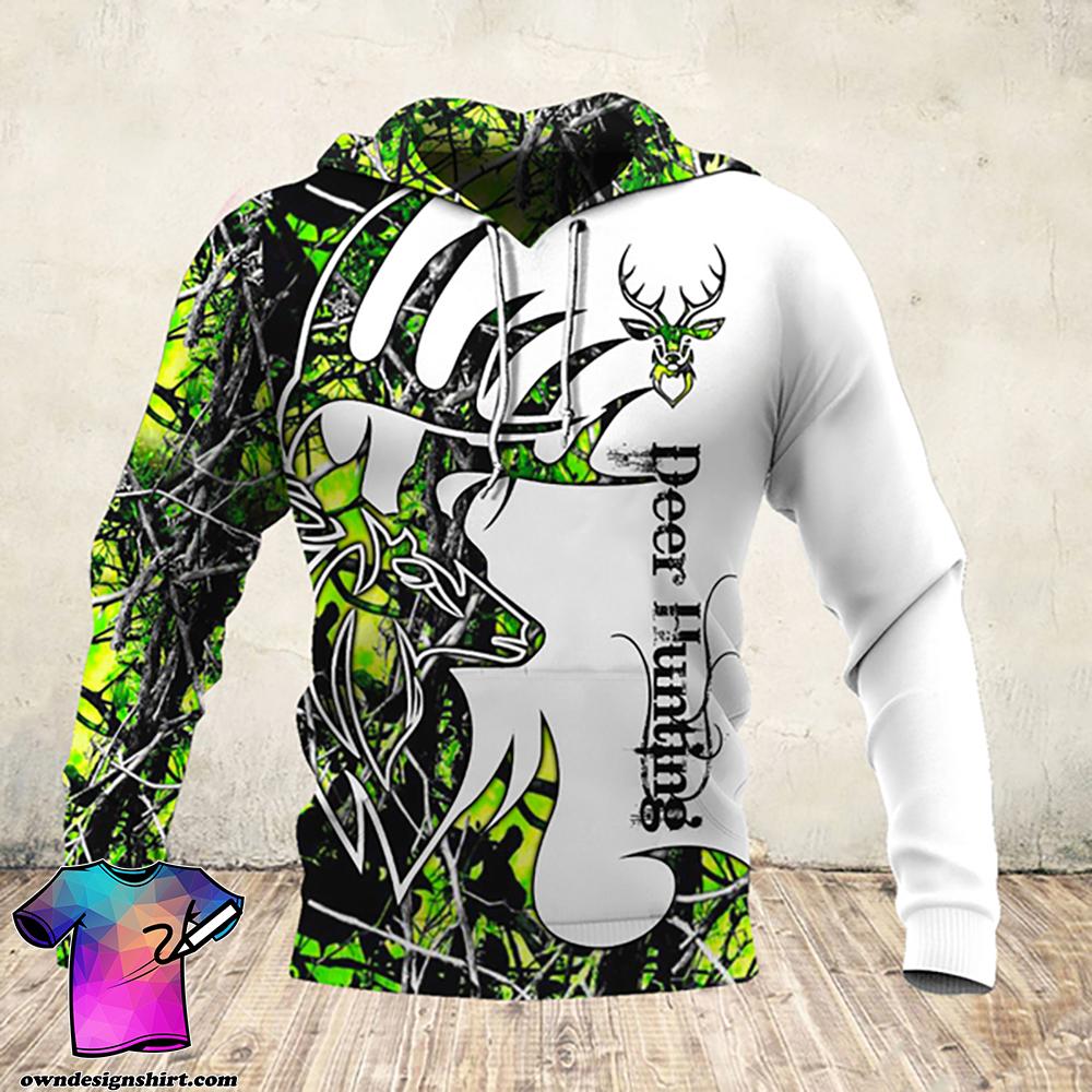 Deer hunter deer hunting neon all over print hoodie
