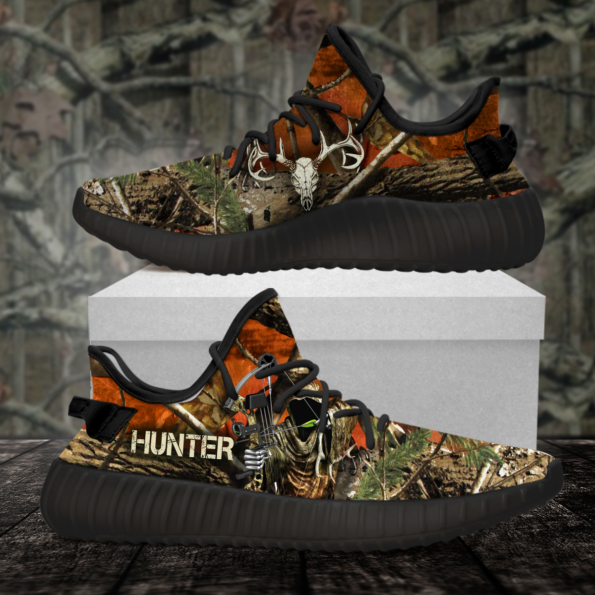 Deer hunting pattern yeezy shoes 4