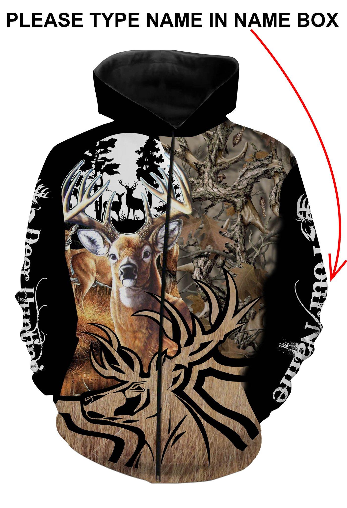 Deer hunting personalized full printing zip hoodie
