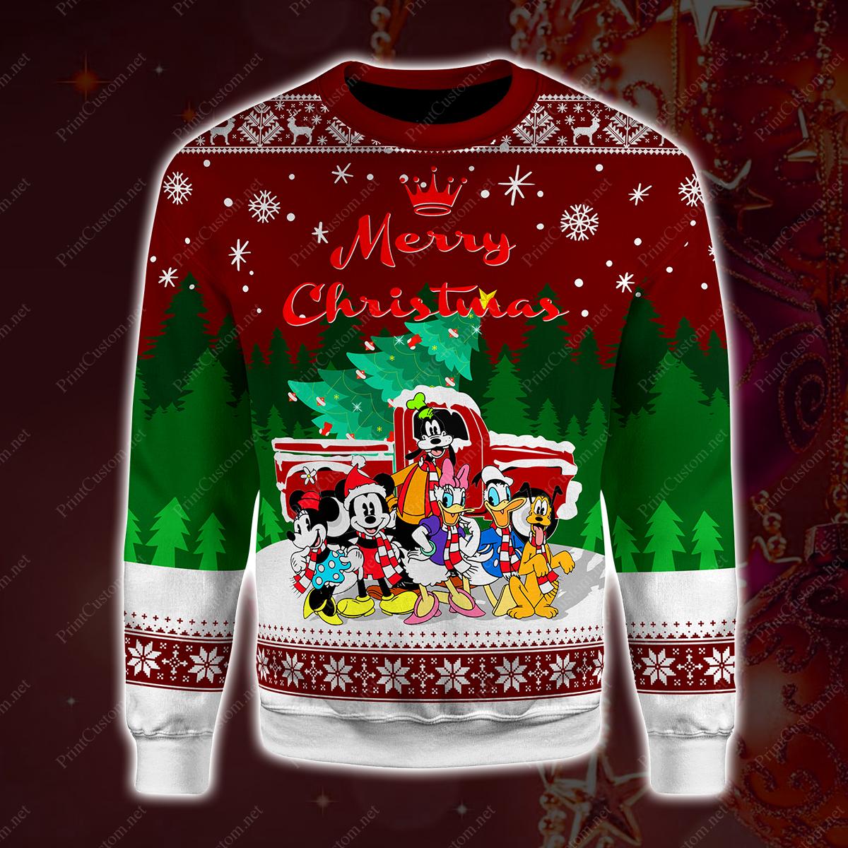 Disney characters merry christmas full printing shirt 1