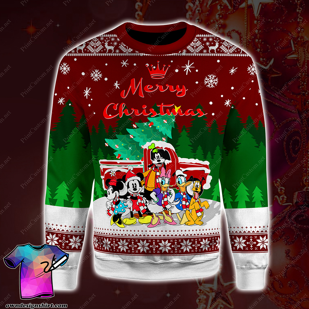 Disney characters merry christmas full printing shirt