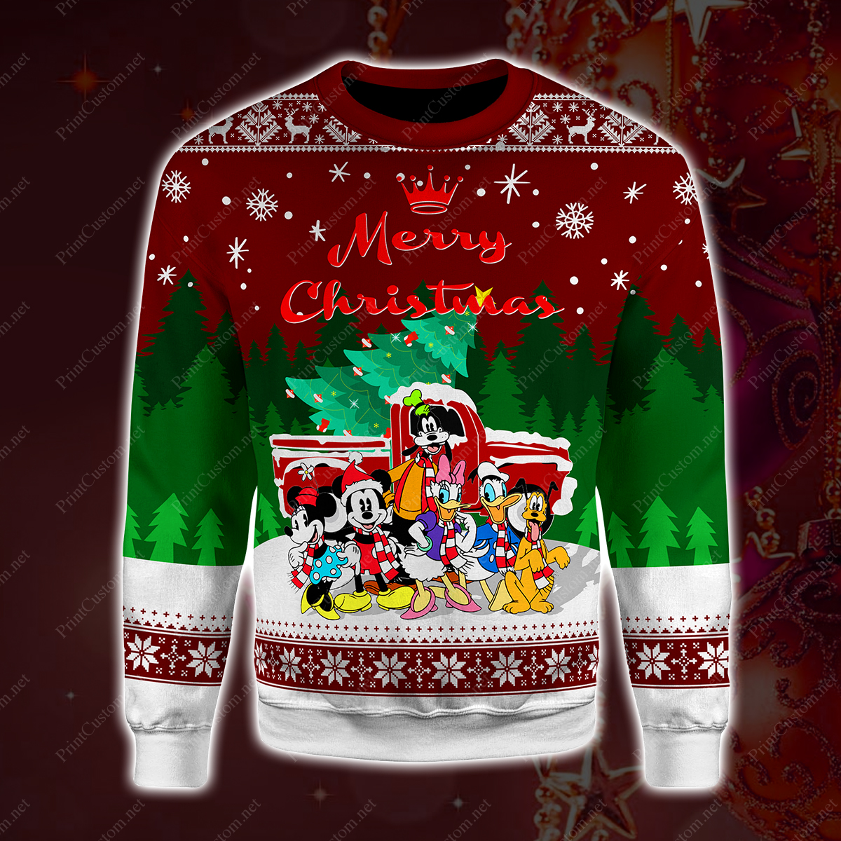 Disney characters merry christmas full printing sweater