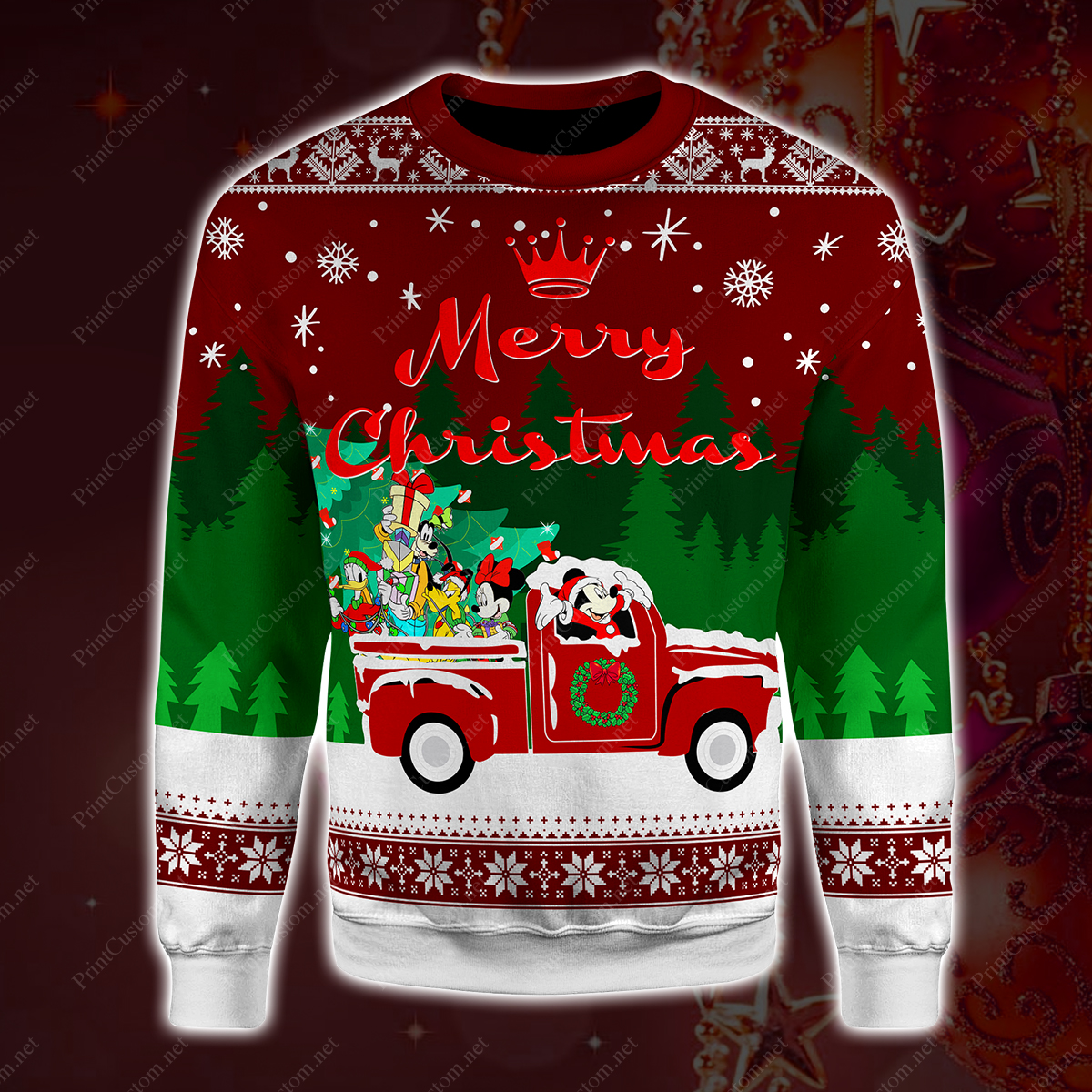 Disney characters merry christmas hallmark movies full printing sweater