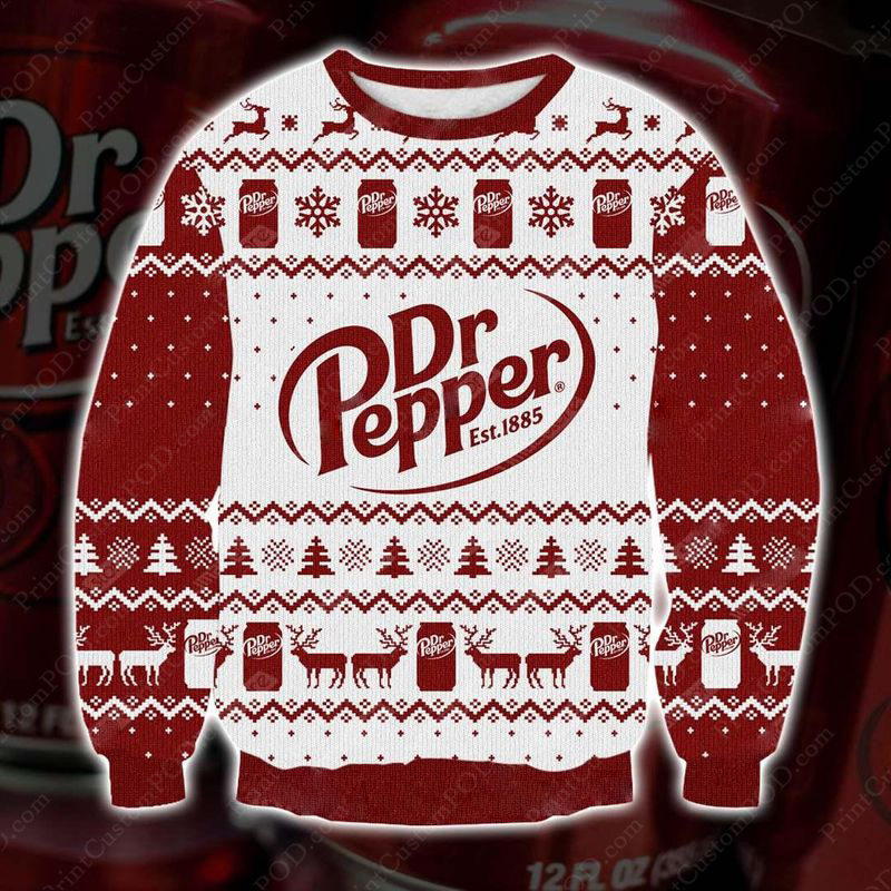 Dr pepper full printing ugly christmas sweater 1