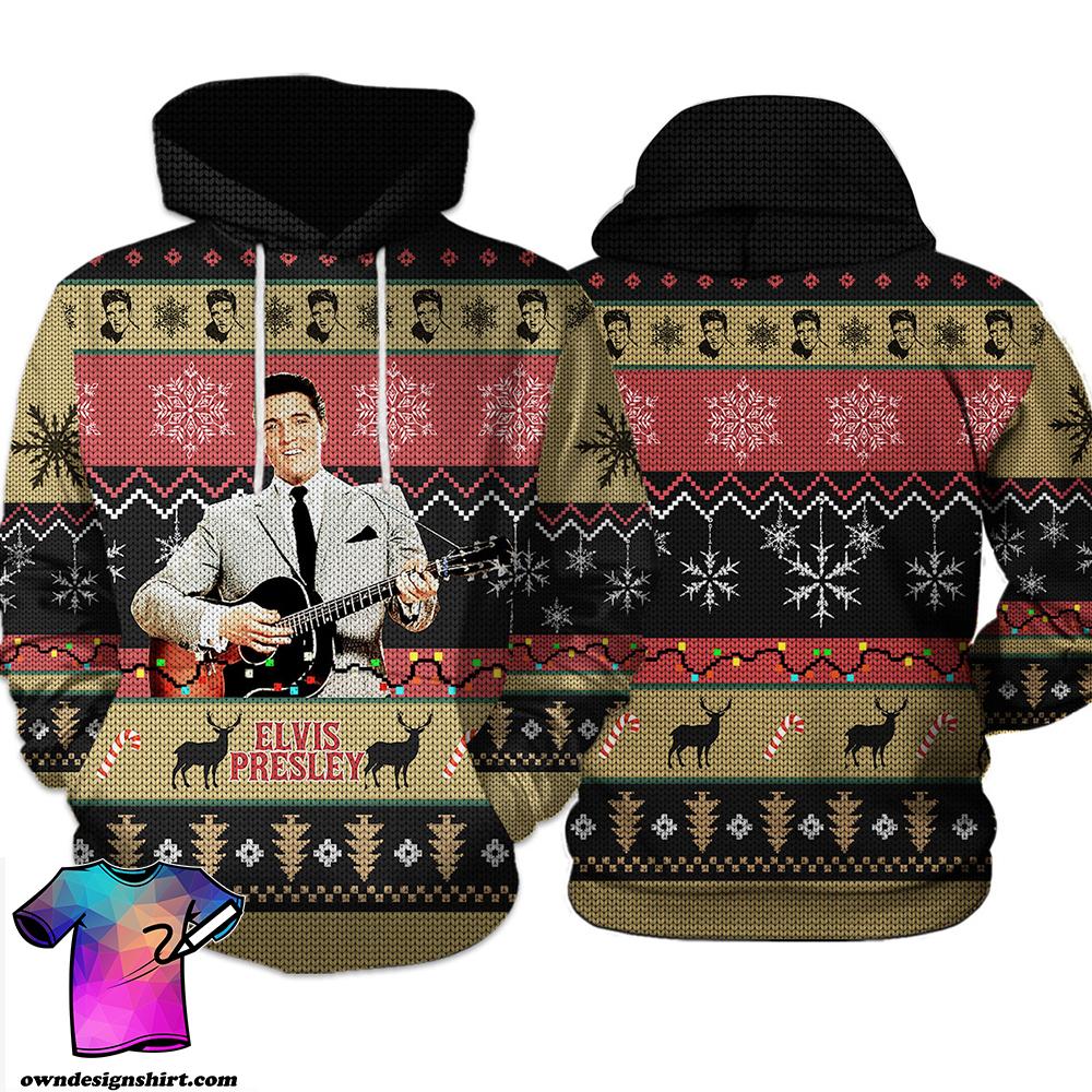 Elvis presley knitting pattern all over print hoodie