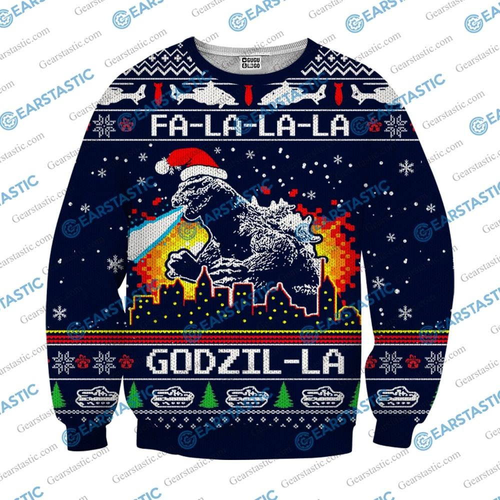 Fa la la la godzil la ugly christmas sweater 1