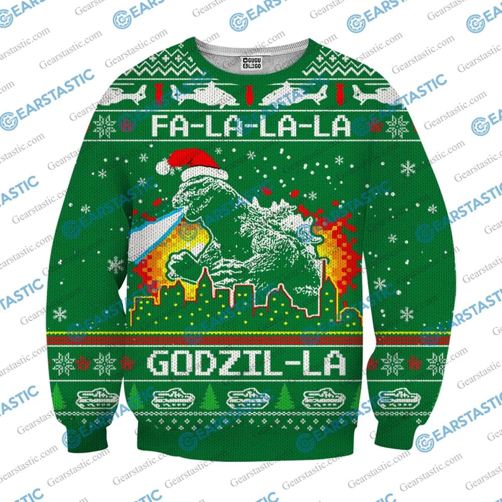 Fa la la la godzil la ugly christmas sweater 2
