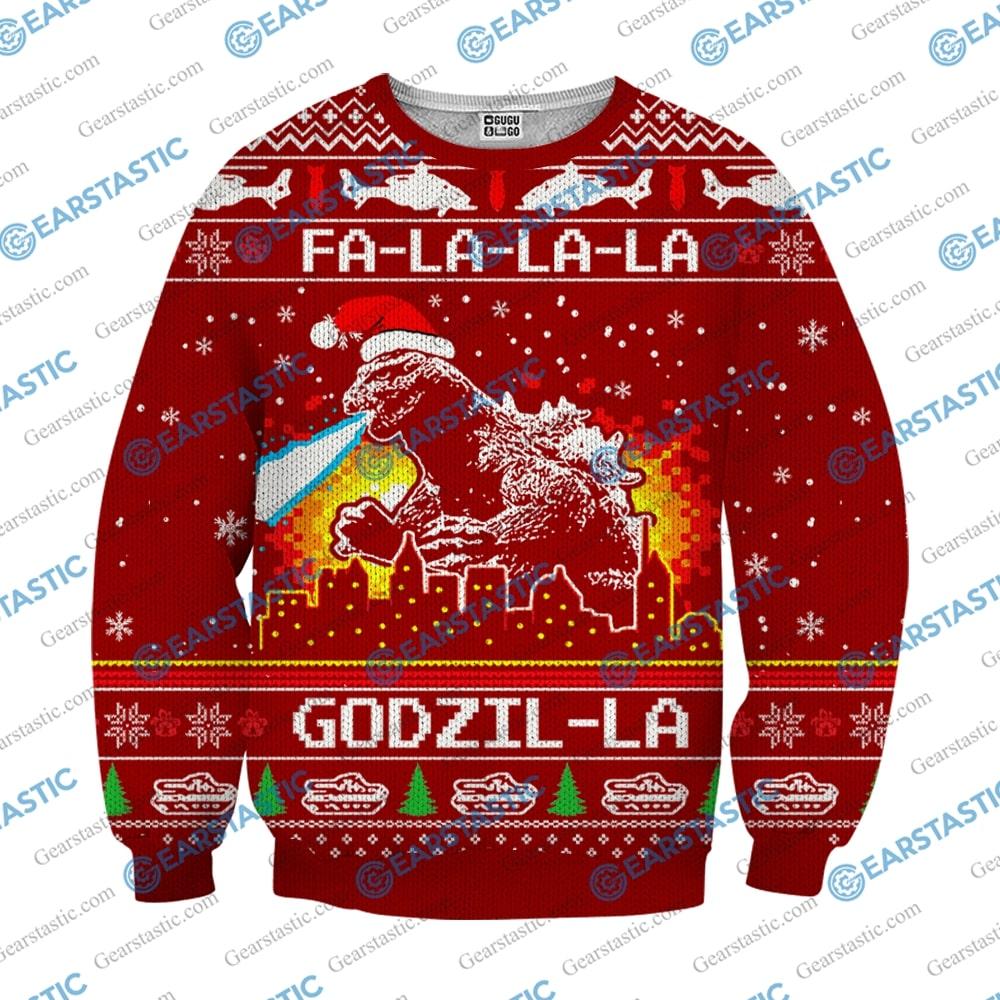 Fa la la la godzil la ugly christmas sweater 3