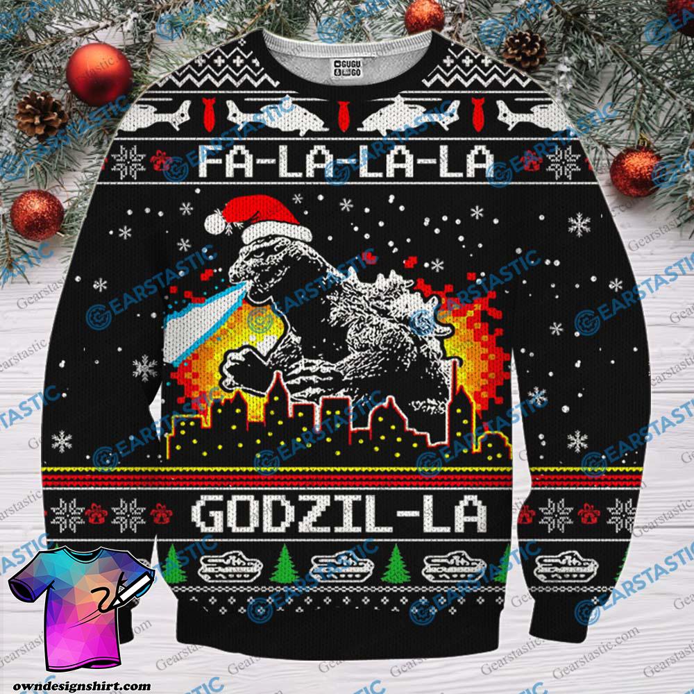 Fa la la la godzil la ugly christmas sweater