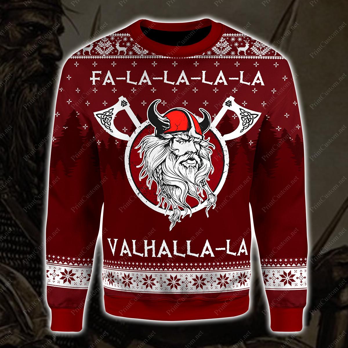 Fa-la-la-la-la valhalla-la viking ugly christmas sweater 1