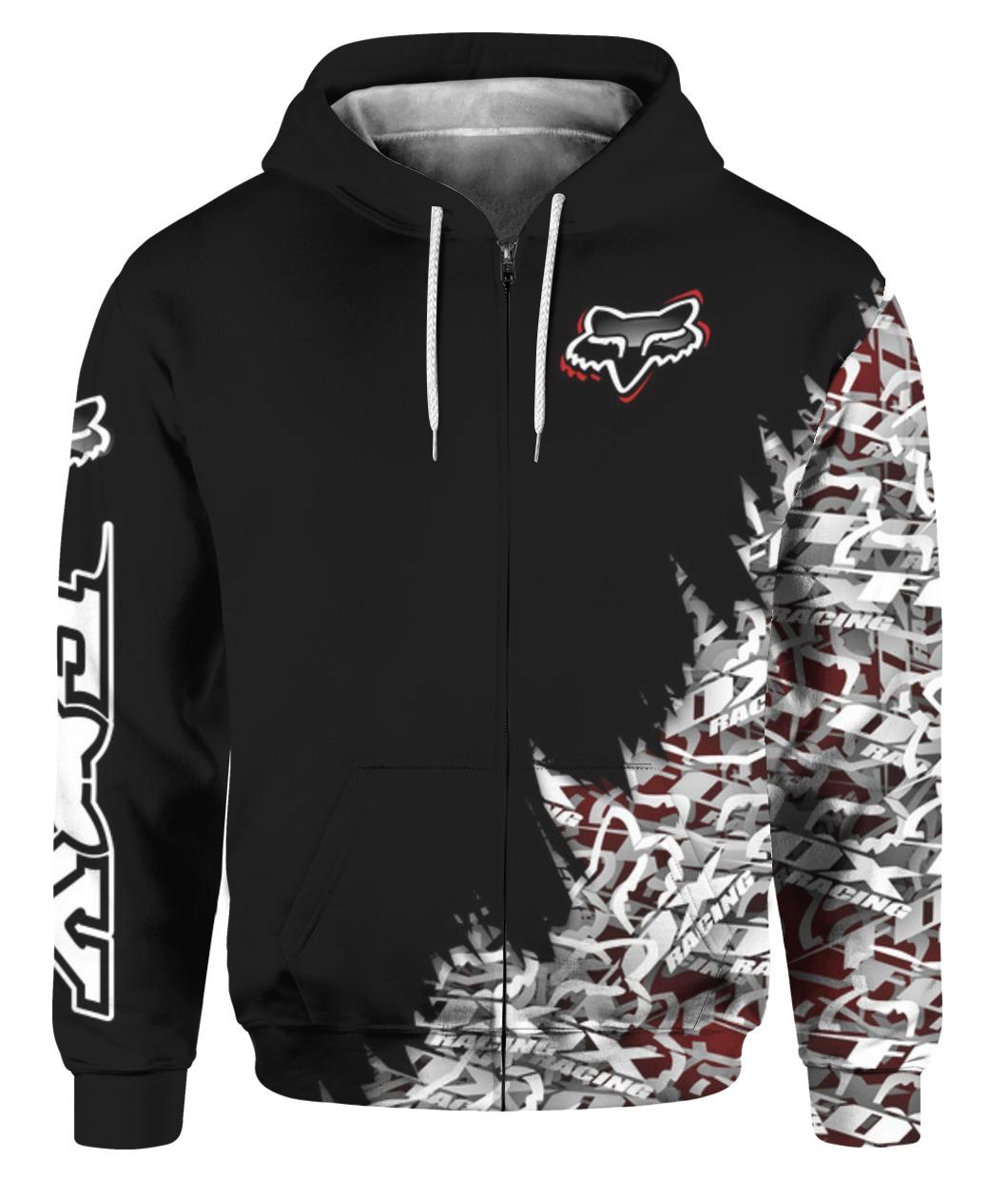 Fox racing full printing zip hoodie