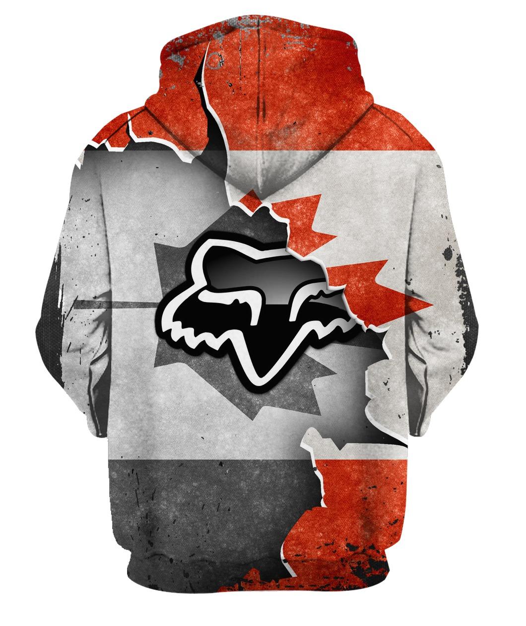 Fox racing in canada flag full printing hoodie 2