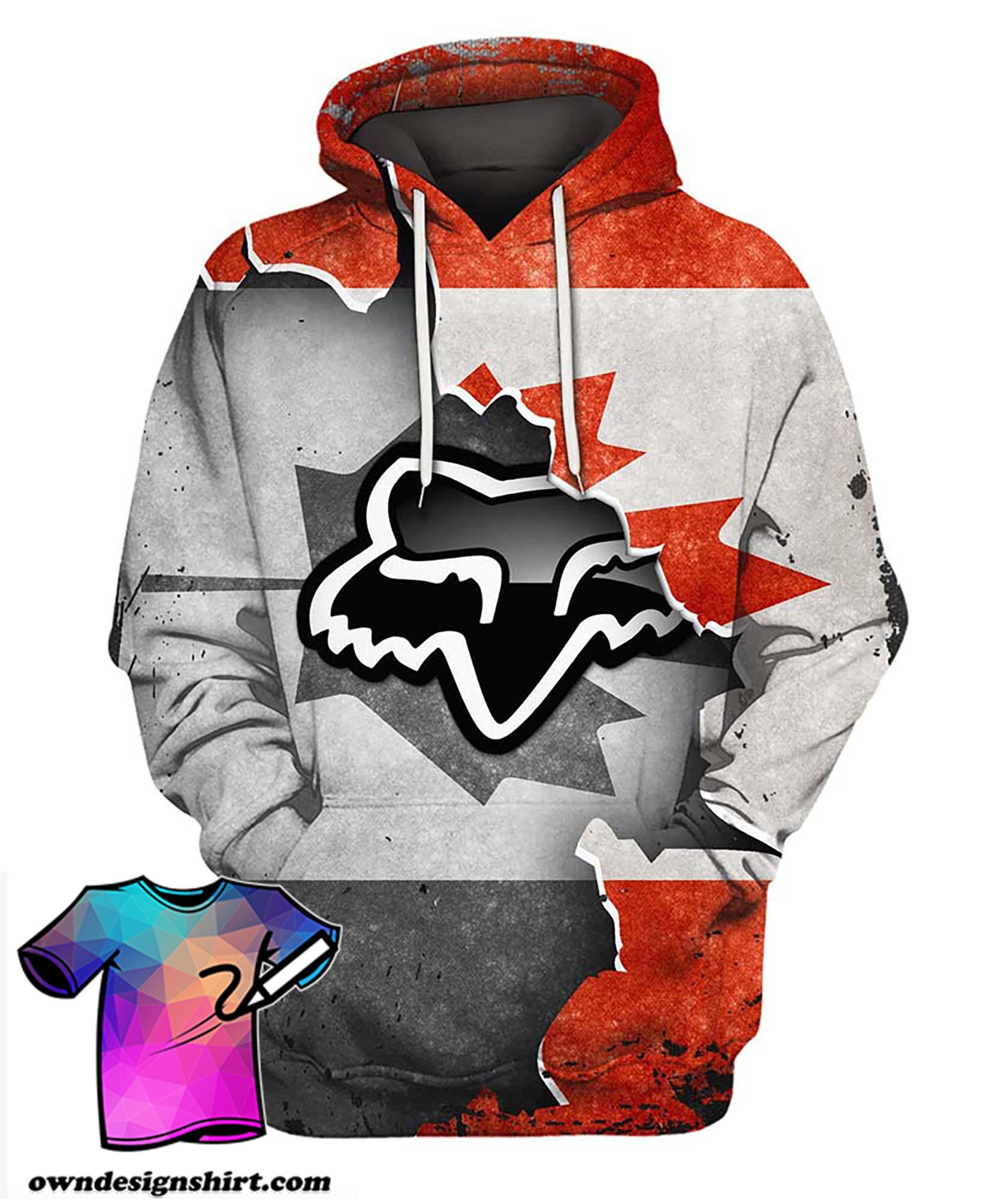 Fox racing in canada flag full printing hoodie