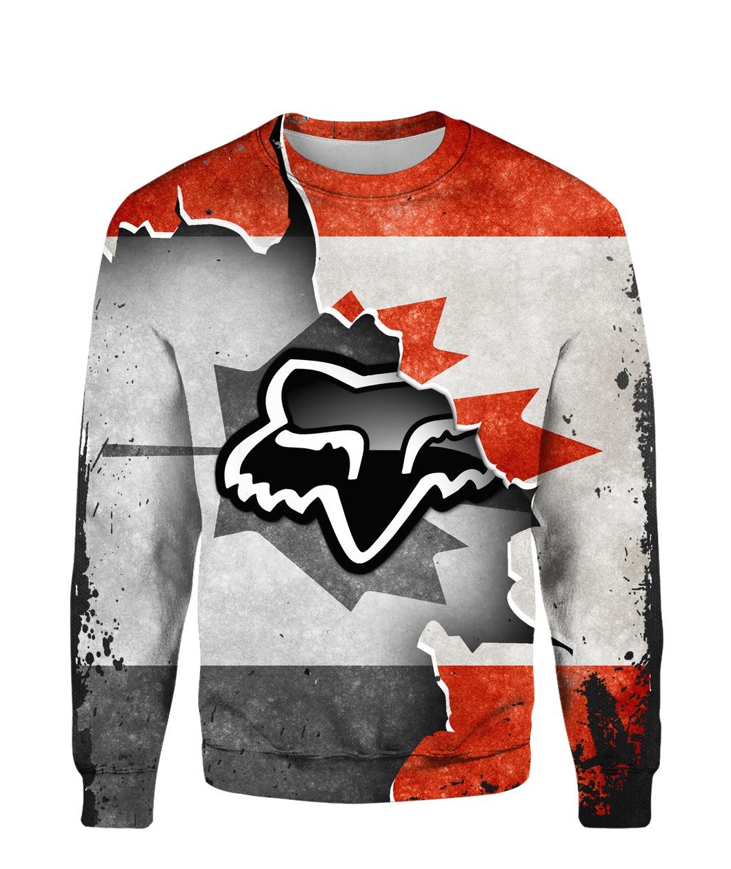 Fox racing in canada flag full printing sweatshirt