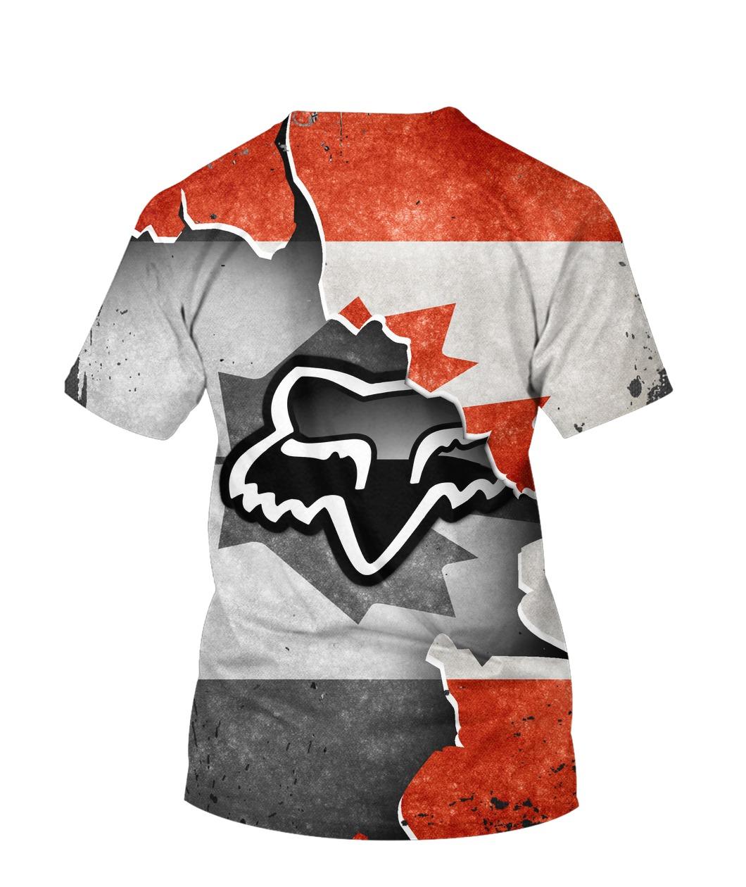 Fox racing in canada flag full printing tshirt 1
