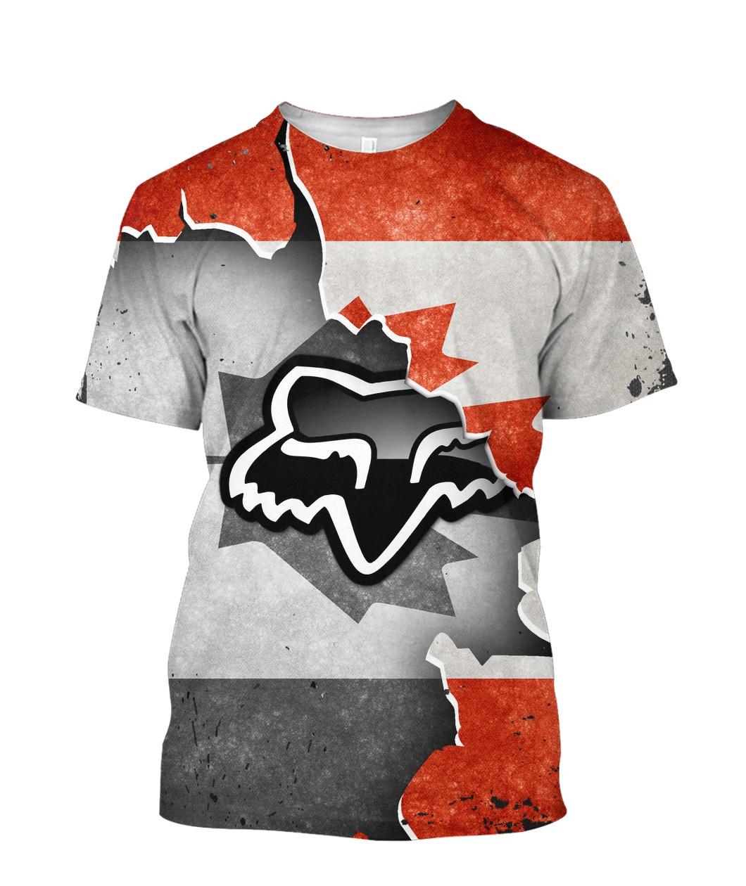 Fox racing in canada flag full printing tshirt
