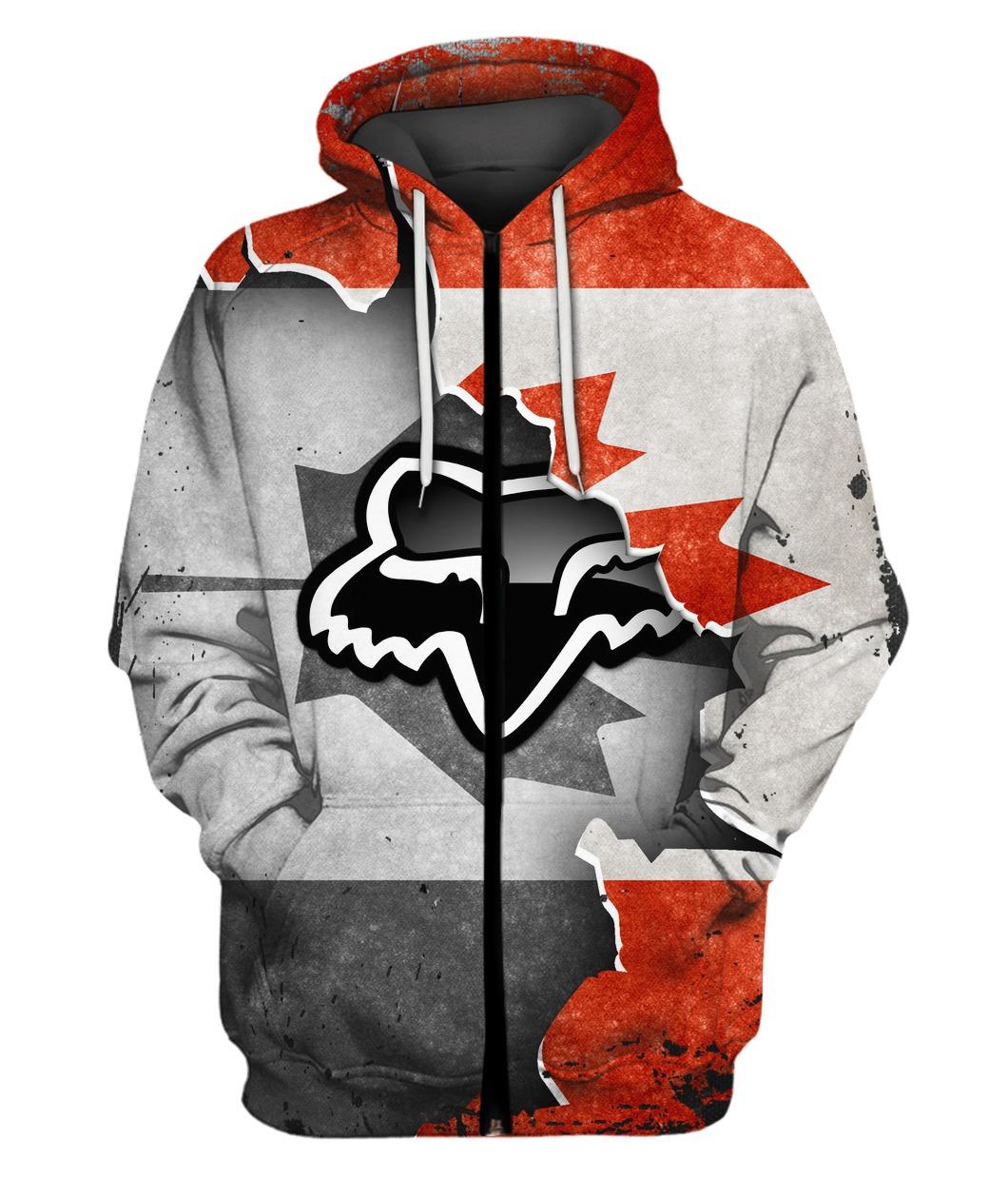 Fox racing in canada flag full printing zip hoodie
