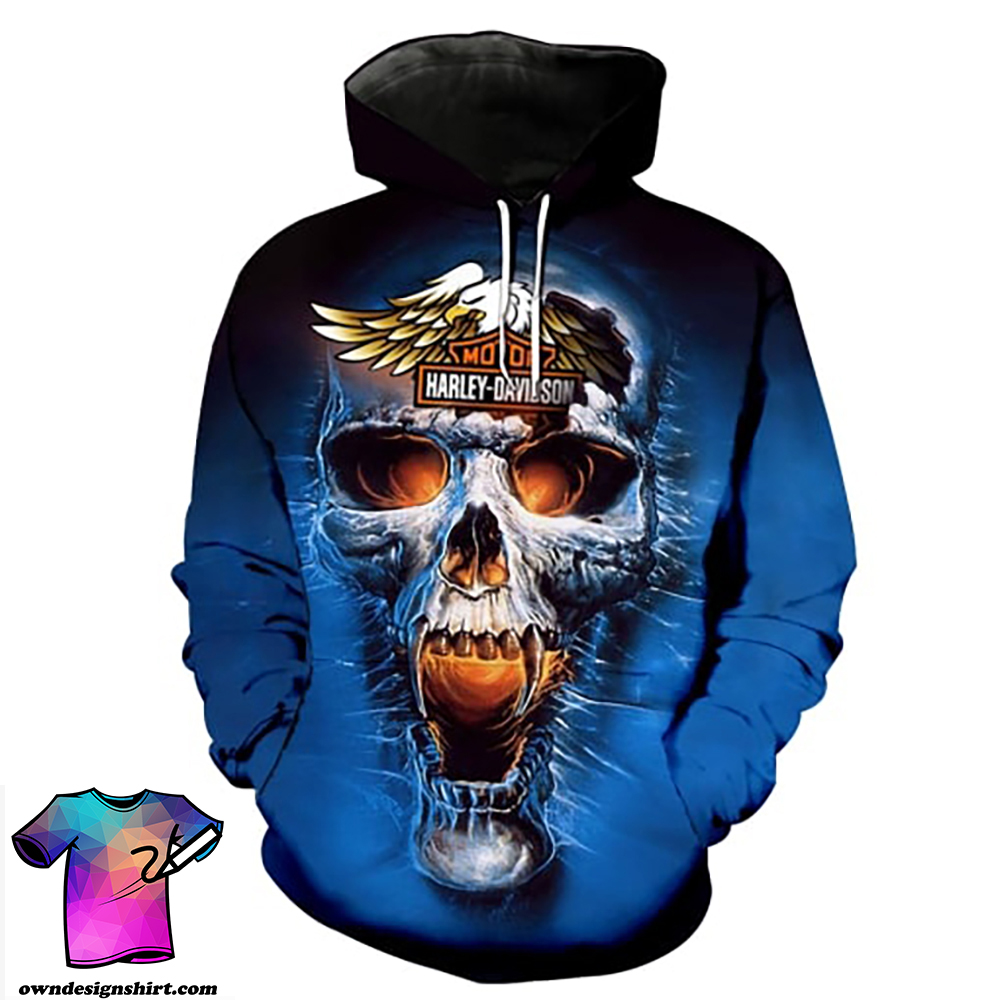 Harley-davidson motorcycle skull full printing hoodie