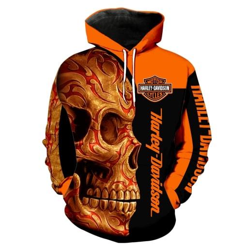 Harley-davidson motorcycle sugar skull full printing hoodie 1
