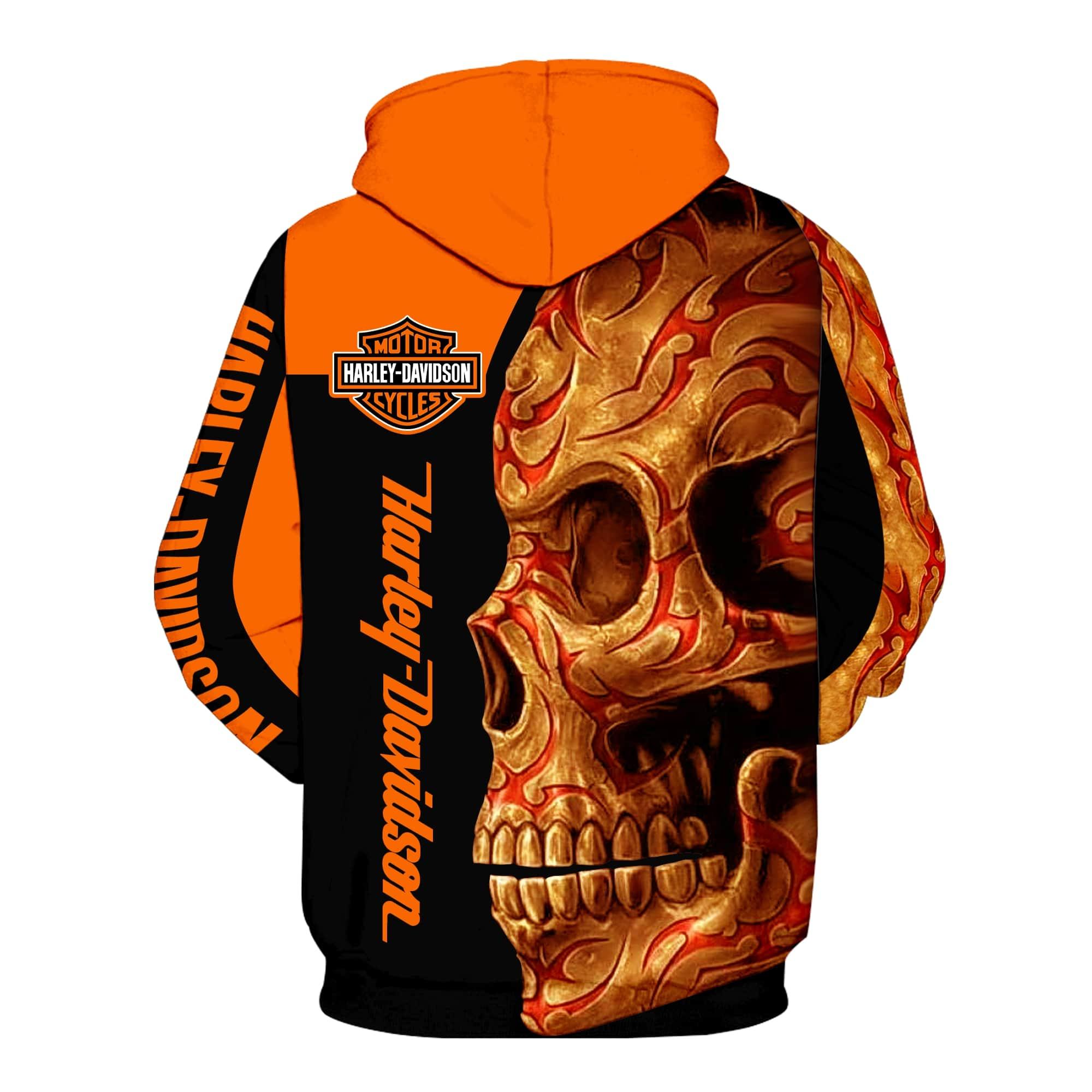 Harley-davidson motorcycle sugar skull full printing hoodie 2