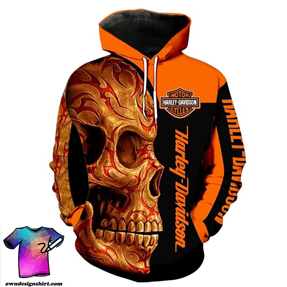 Harley-davidson motorcycle sugar skull full printing hoodie