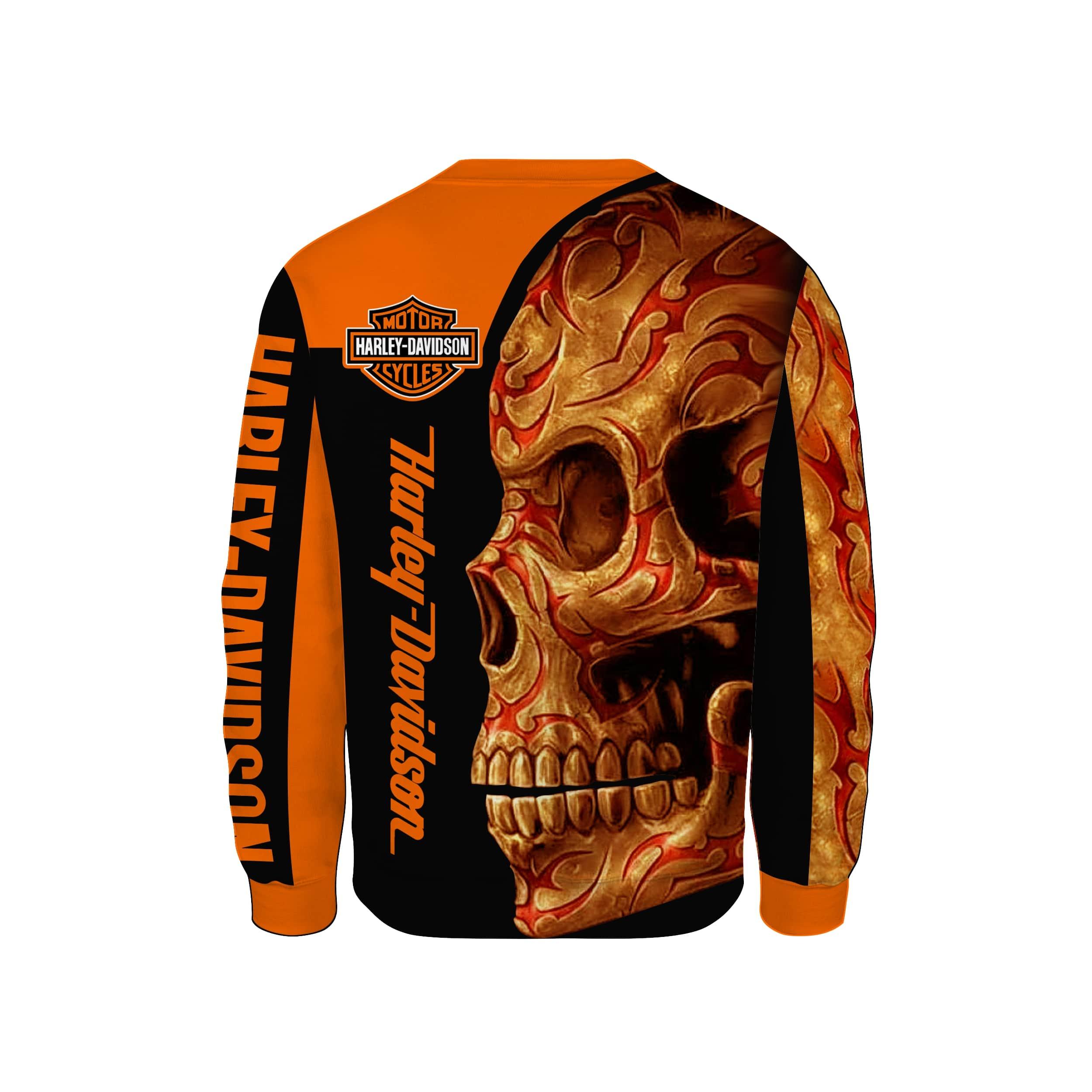 Harley-davidson motorcycle sugar skull full printing sweatshirt 2