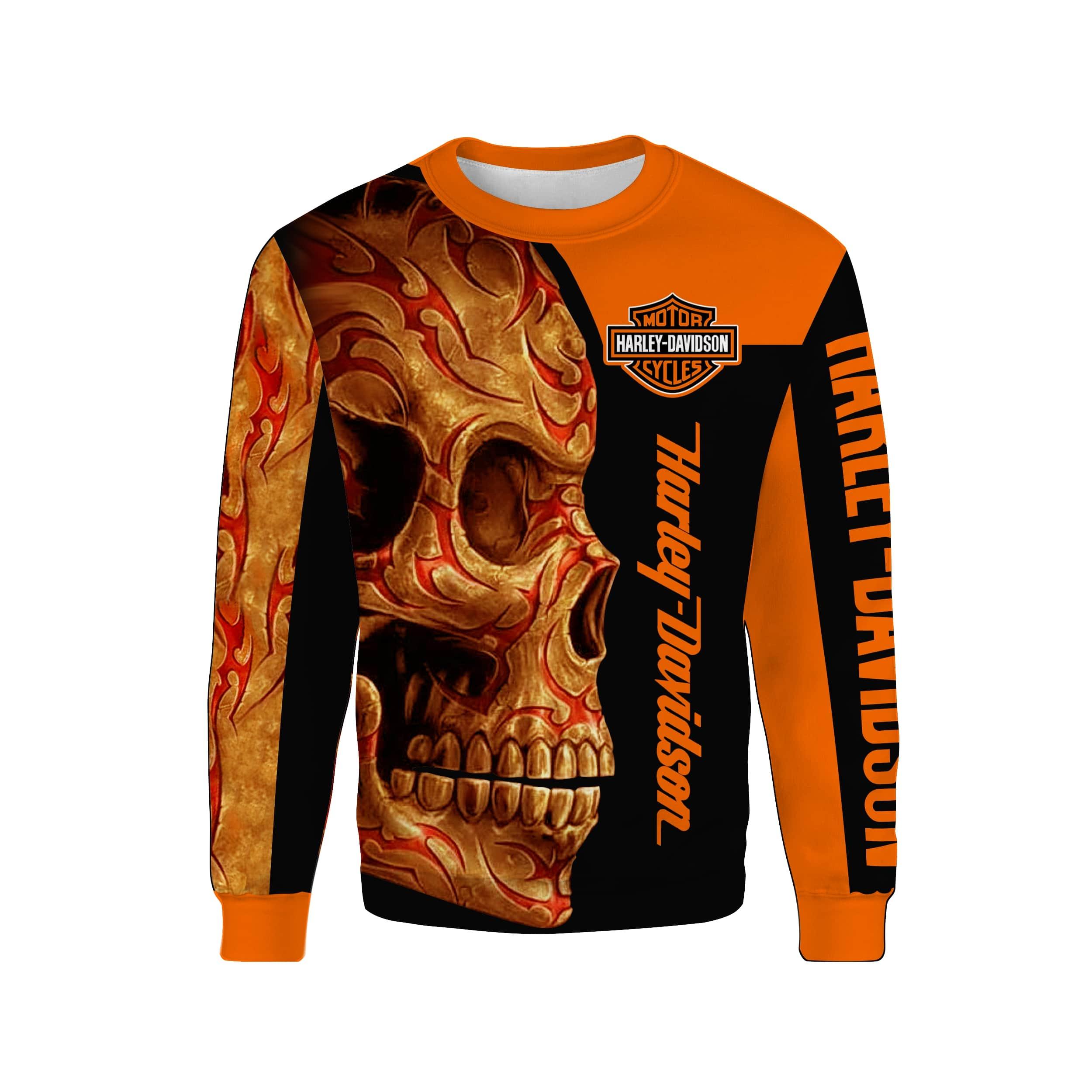 Harley-davidson motorcycle sugar skull full printing sweatshirt