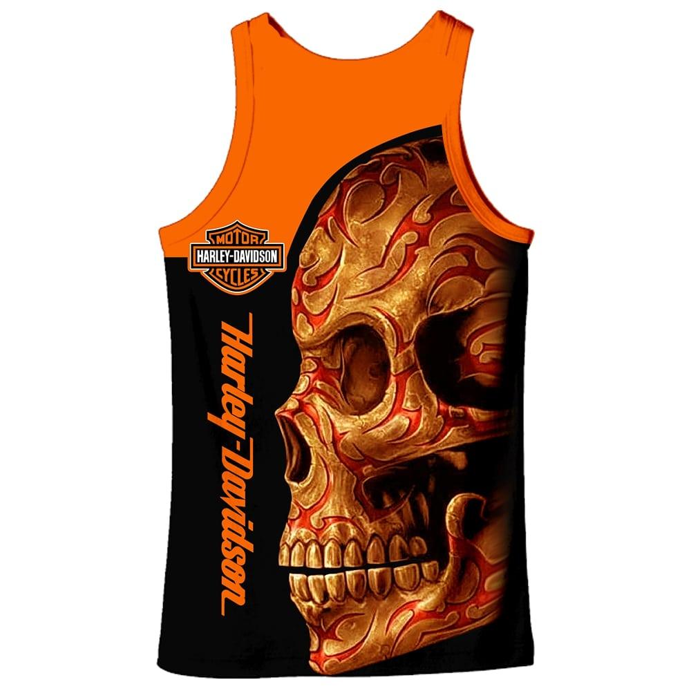 Harley-davidson motorcycle sugar skull full printing tank top 2