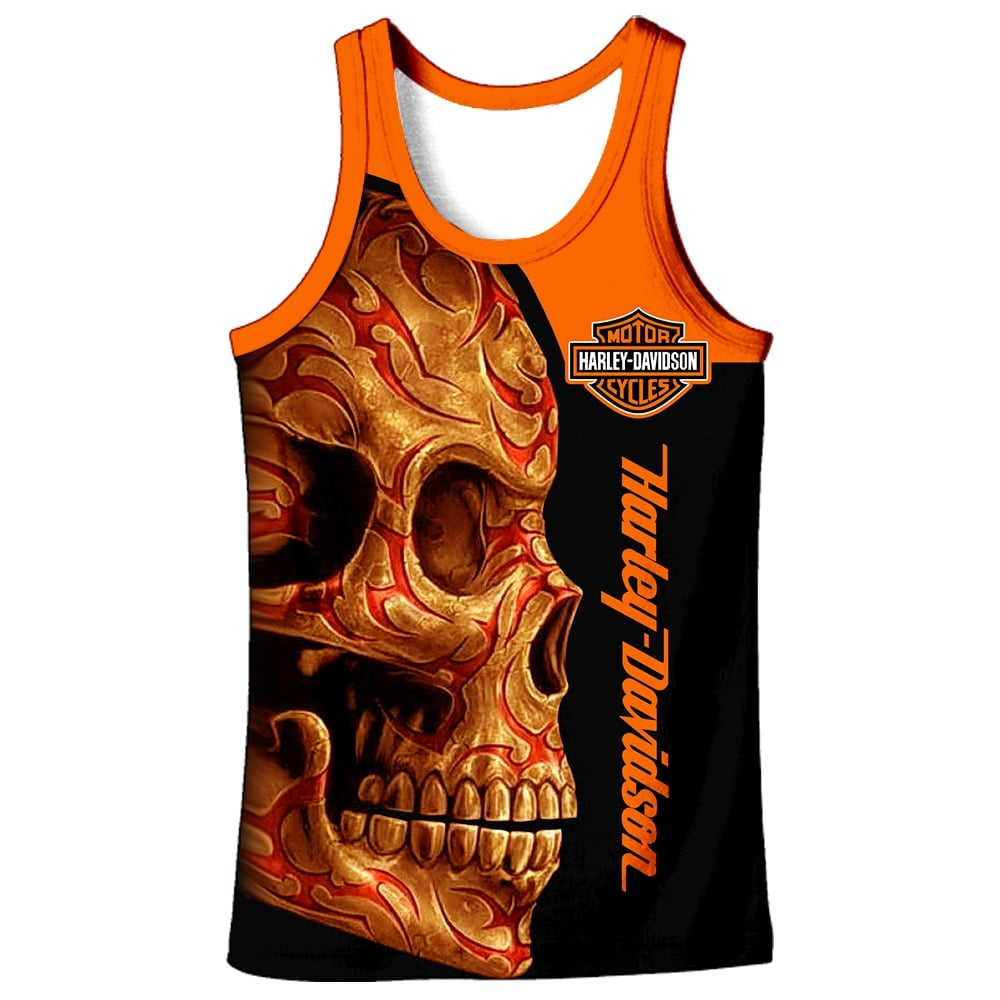 Harley-davidson motorcycle sugar skull full printing tank top