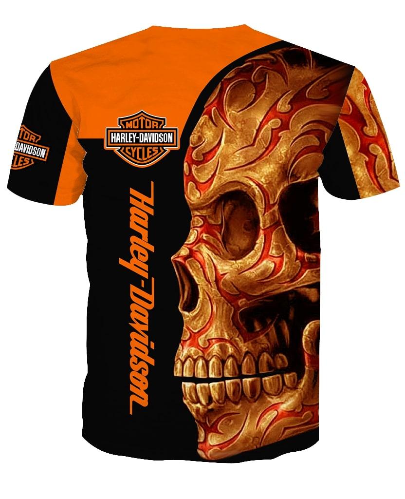 Harley-davidson motorcycle sugar skull full printing tshirt 1