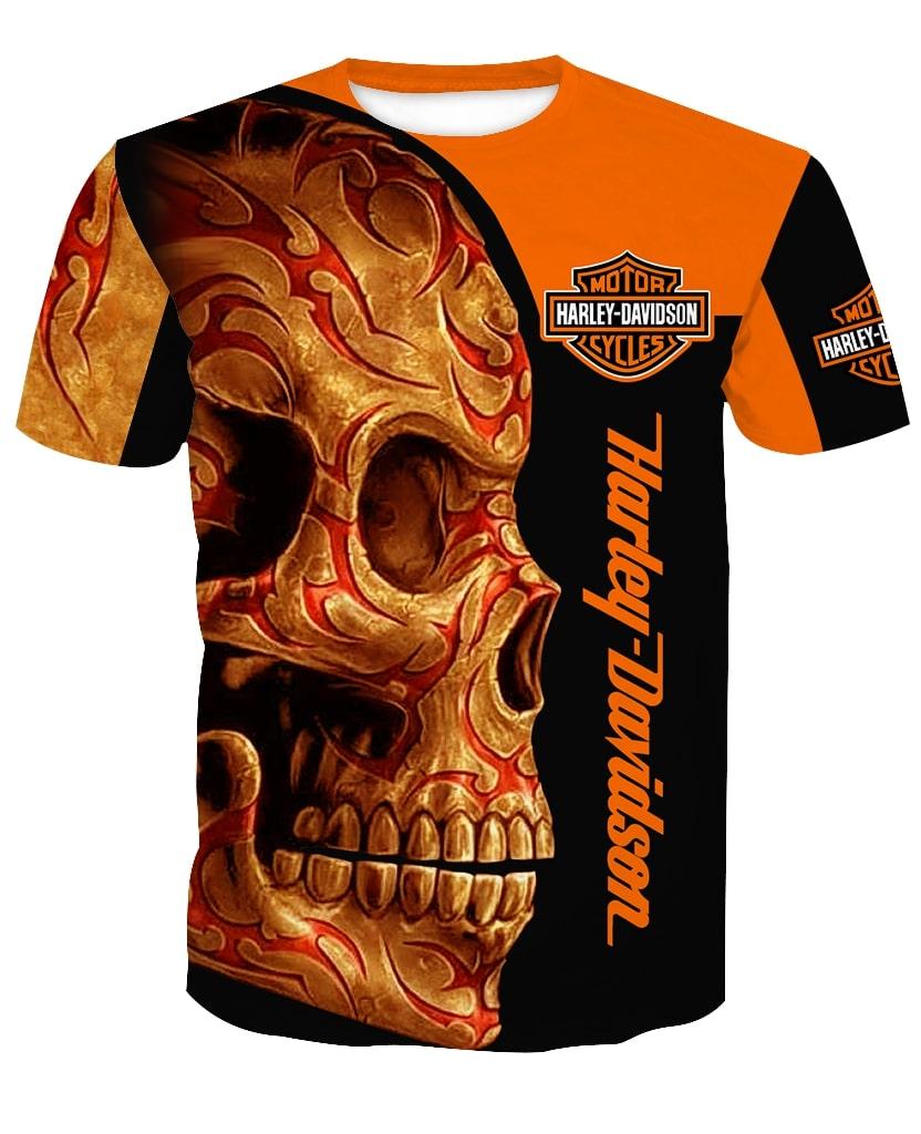 Harley-davidson motorcycle sugar skull full printing tshirt