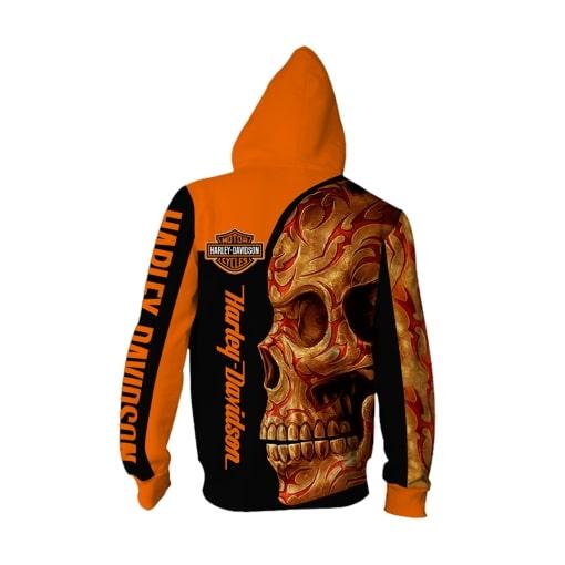 Harley-davidson motorcycle sugar skull full printing zip hoodie 1