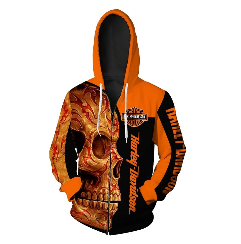 Harley-davidson motorcycle sugar skull full printing zip hoodie