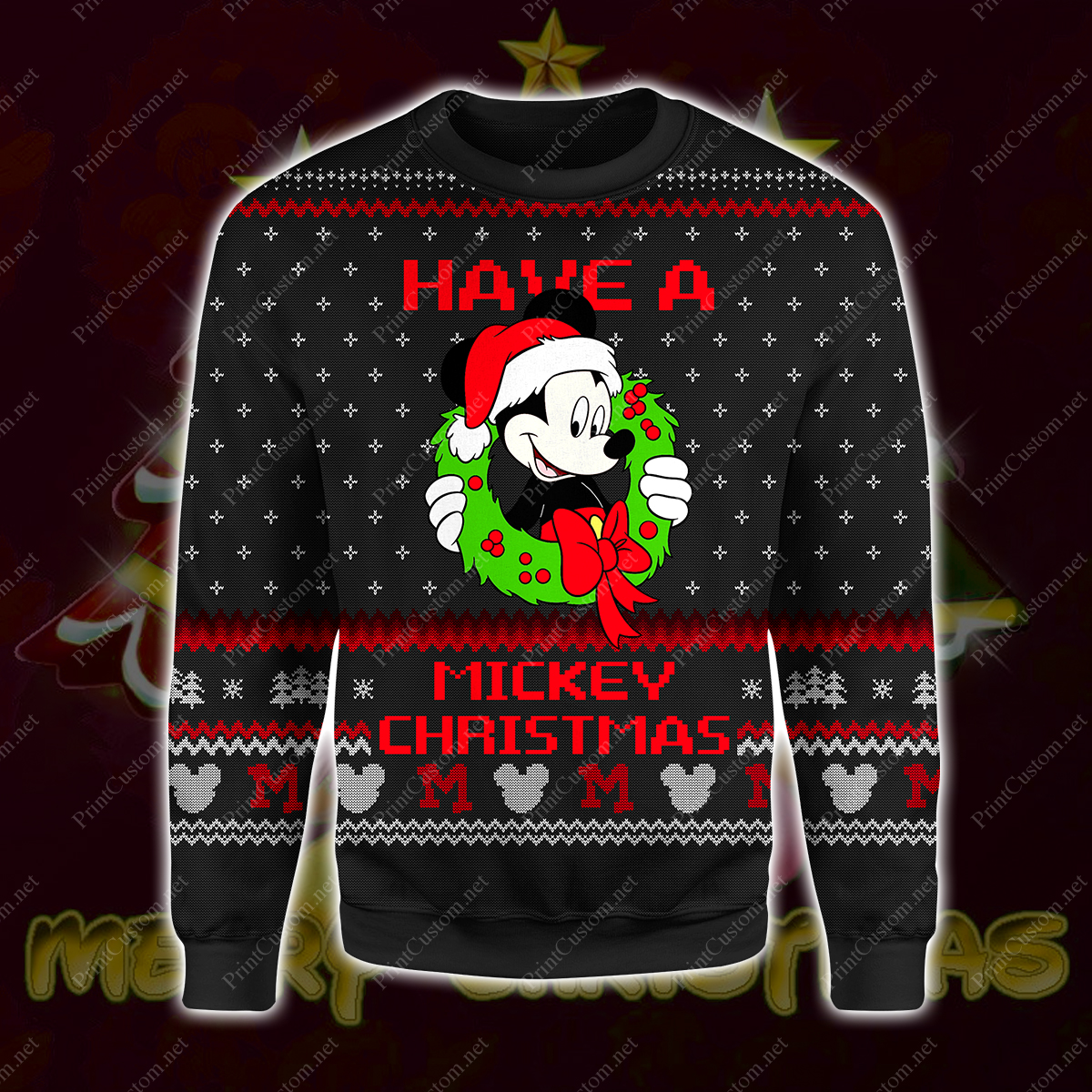 Have a mickey christmas full printing ugly christmas sweater 1