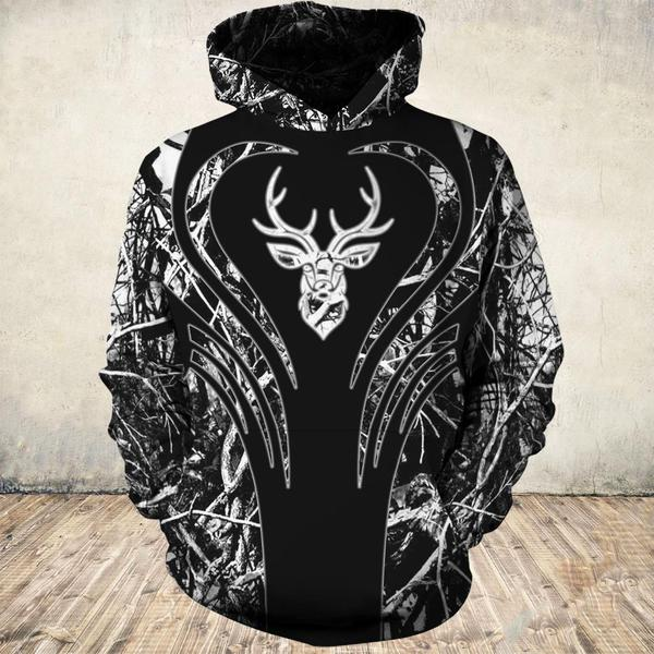 Heart deers all over print hoodie 1
